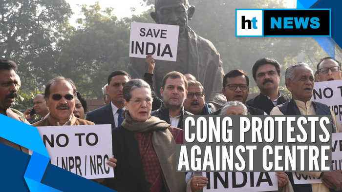Watch: Sonia Gandhi leads protest against CAA & NRC outside Parliament