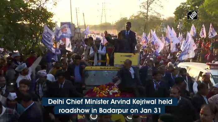 Delhi polls CM Kjriwal holds roadshow in Badarpur