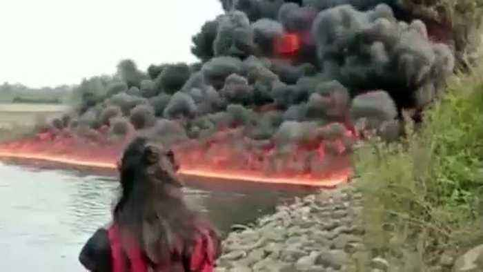 Fuel thieves start massive oil fire trying to siphon from east Indian pipeline