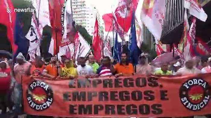 Union workers in Brazil rally against President Bolsonaro's cutbacks