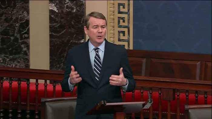 Sen. Michael Bennet speaks before impeachment vote