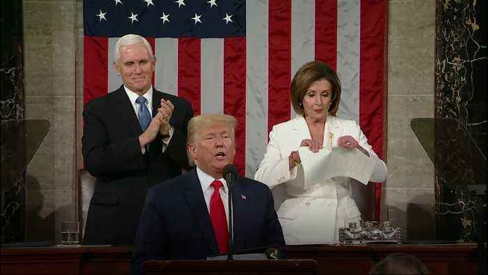 House Speaker Pelosi rips up copy of speech after President Trump finishes State of the Union
