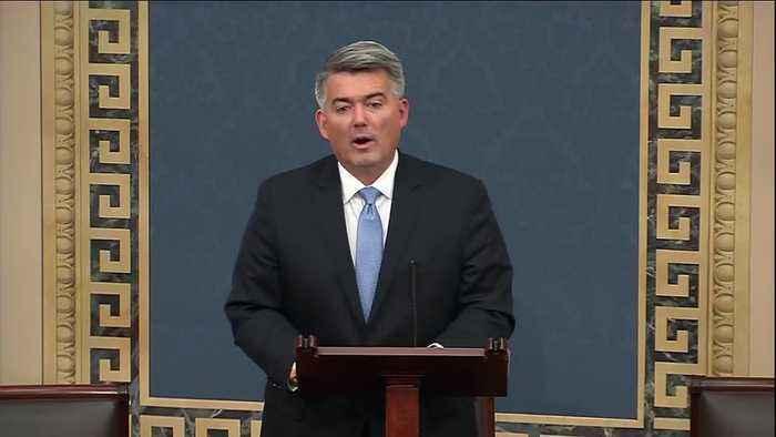 Sen. Cory Gardner speaks before impeachment vote