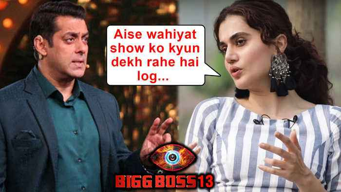 Taapsee Pannu SLAMS Salman Khan's TV Reality Show Bigg Boss 13 | Thappad