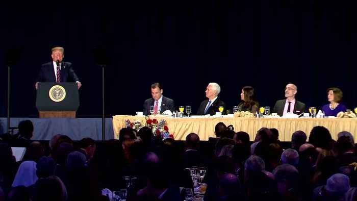 Trump targets Pelosi, Romney at prayer breakfast