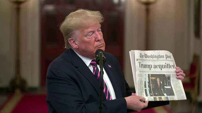 Trump celebrates impeachment acquittal at White House