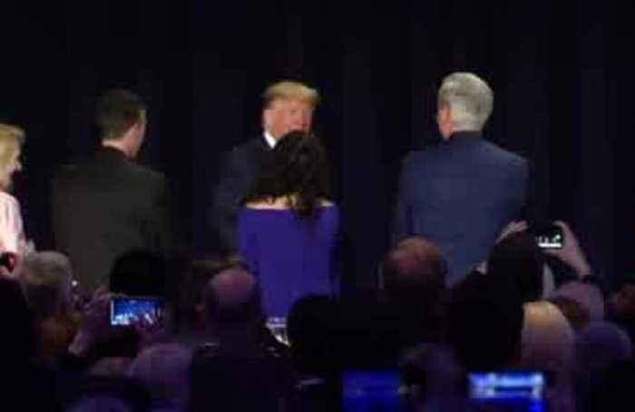 Trump snipes at Pelosi, Romney, at prayer breakfast
