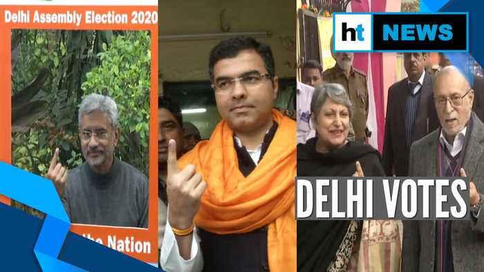 Watch   Delhi polls 2020: EAM Jaishankar, Lt Guv Anil Baijal cast their votes