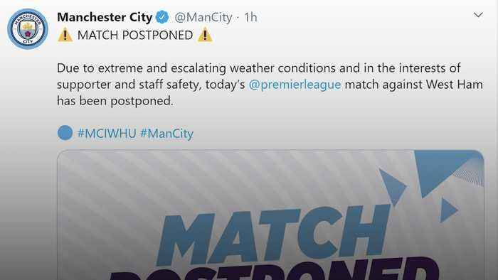 Man City-West Ham game off as Storm Ciara batters Britain