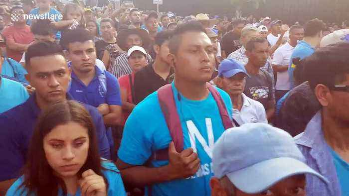 Thousands of Salvadorans gather to demand the country's congress to approve $109m loan to better equip police force