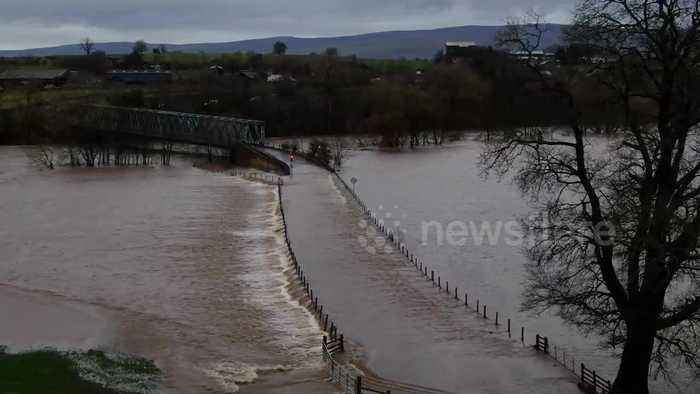 Drone footage shows severe flooding across Cumbria during Storm Ciara