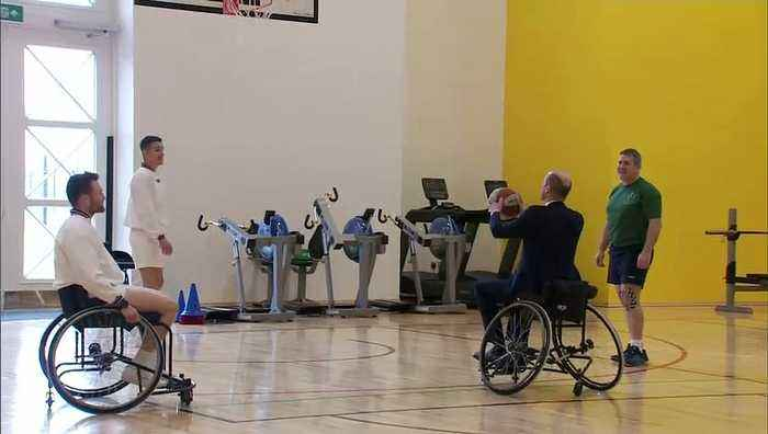 Duke of Cambridge plays wheelchair basketball
