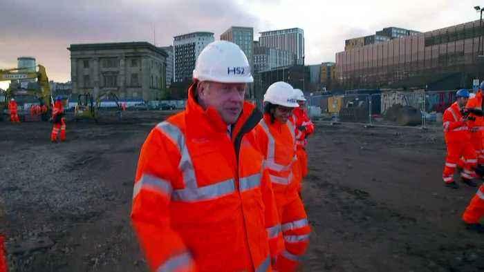 Boris Johnson visits HS2 site in Birmingham