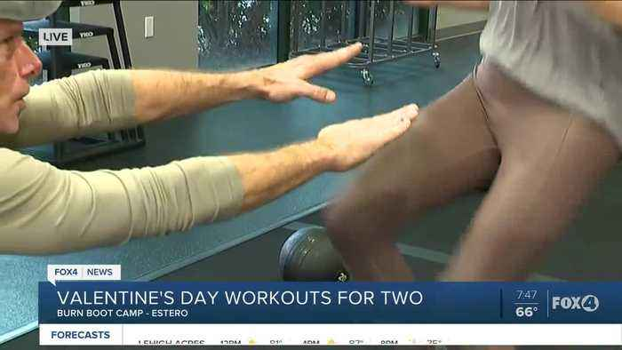 Valentine's Day couple exercise workout