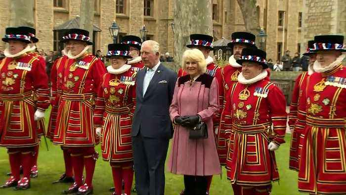 Prince Charles and Camilla visit the Tower of London