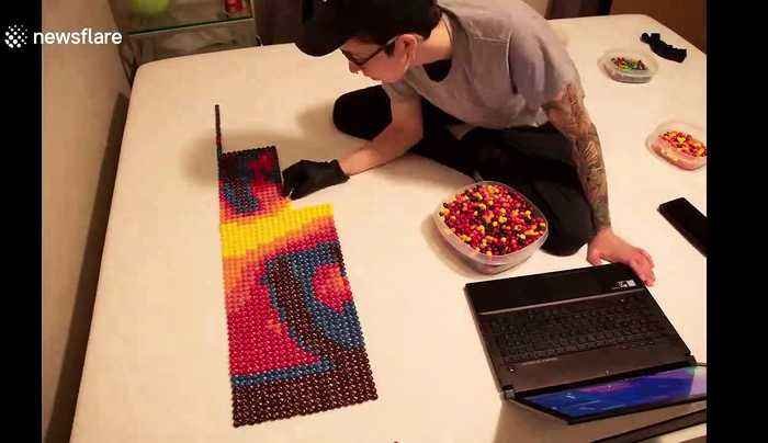 Ever wondered what Billie Eilish made from over 7,000 Skittles looks like?