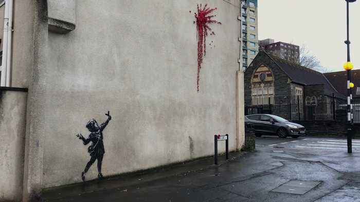 A new piece of Valentine's Day-inspired street art apparently created by Banksy has appeared in his home city of Bristol