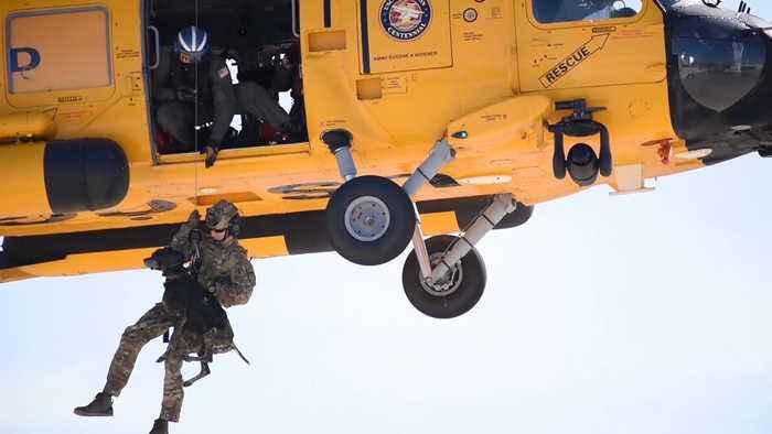 Amazing Video Shows Coast Guard Dog Helicopter Hoist Training!