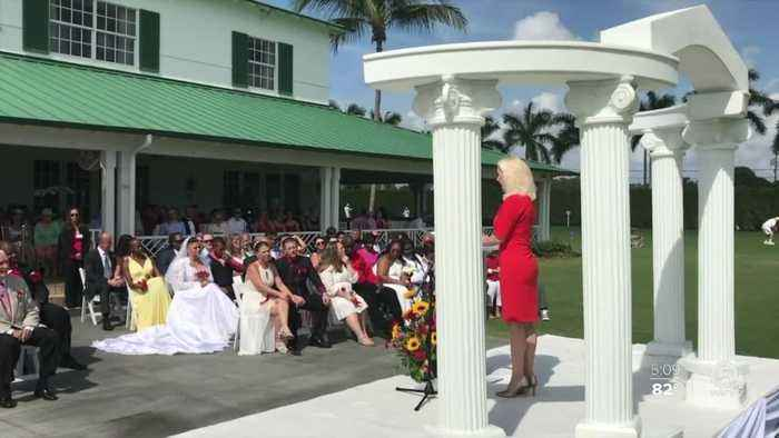 Nearly 40 couples say 'I do' during Valentine's Day wedding