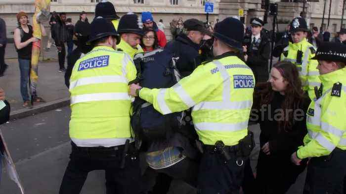 Violent scenes as youth climate protesters clash with police in central London
