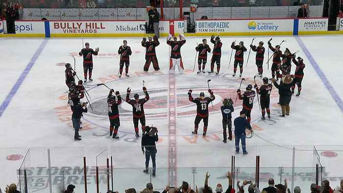 Hurricanes celebrate win with hearts on Valentine's Day