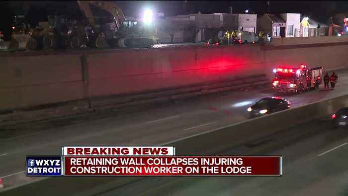 Southbound Lodge closed at 7 Mile in Detroit after retaining wall collapse