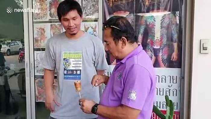 Thai man shocked after finding gold ring inside his hot dog
