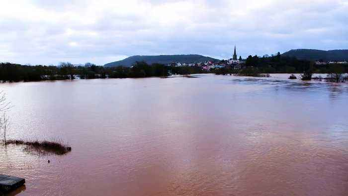 Hereford almost underwater after being flooded by Storm Dennis