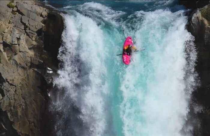 Daredevil kayaker makes a splash over 41-metre high waterfall