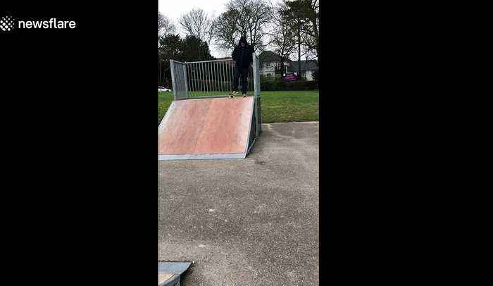Father fails at showing off his skateboarding skills in shocking wipeout