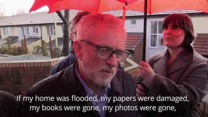 Jeremy Corbyn condemns Boris Johnson for failing to visit flood-hit homes