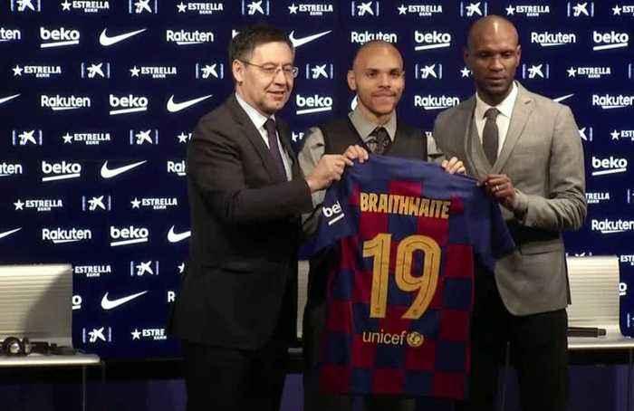 Barcelona present new signing Braithwaite