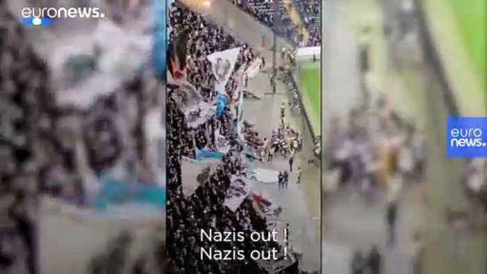 'Nazis out' chant Frankfurt fans after hecklers interrupt minute's silence for Hanau victims