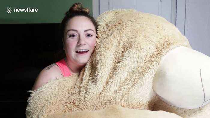 Family pranks son with giant teddy bear that hilariously 'comes to life'