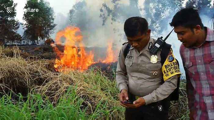 Emergency crews tackle forest and land fires as dry season begins in Indonesia