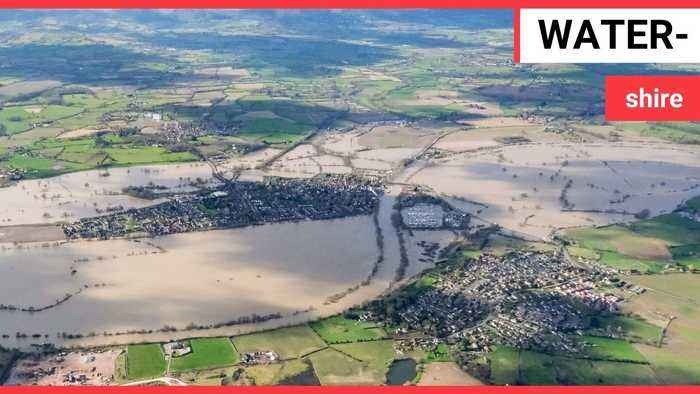Dramatic footage reveal the extent of flooding plaguing the city of Worcester