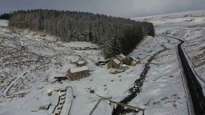 Snow covers countryside in north of England