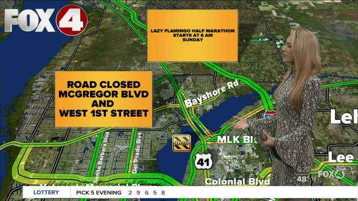 Expect road closures during the Lazy Flamingo Half Marathon in Fort Myers