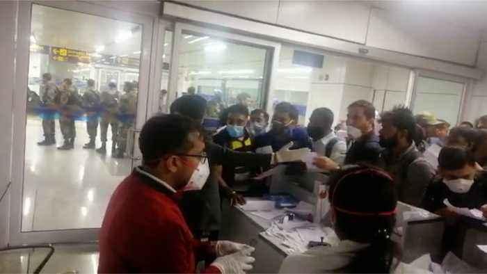 Passengers being screened at IGI Airport in New Delhi