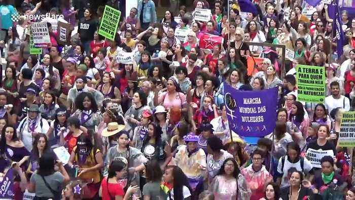 Feminist groups in Brazil protest against President Bolsonaro on International Women's Day
