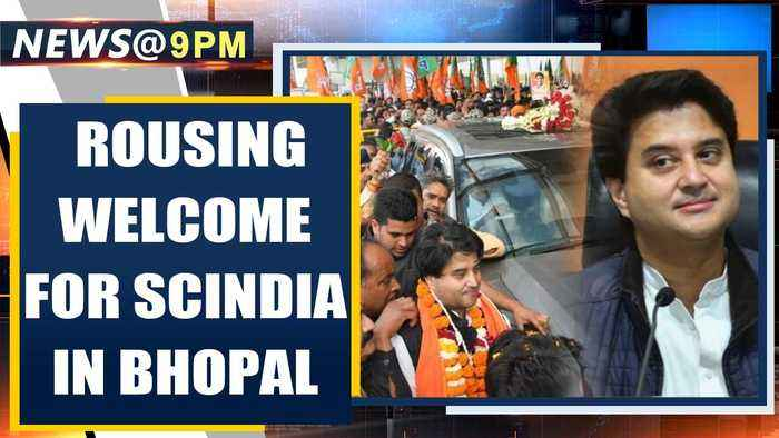 Bhopal: BJP's Jyotiraditya Scindia gets a grand welcome by BJP workers & leaders | Oneindia News