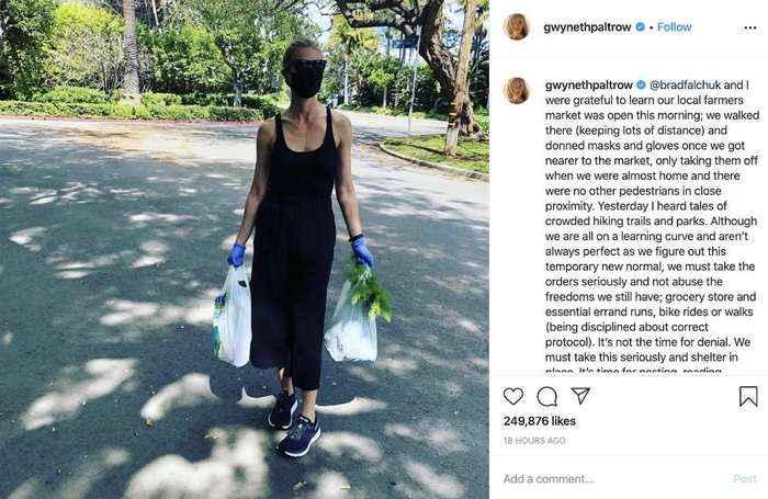 Gwyneth Paltrow urges people not to 'abuse freedom' amid coronavirus pandemic