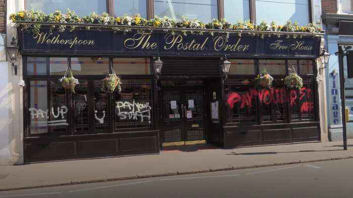 Wetherspoons pub vandalised amid backlash over staff payment