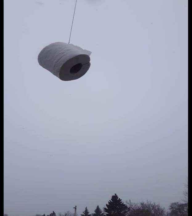 Toilet Paper Drone Air Drop