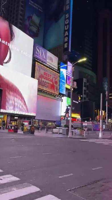 Times Square is Empty and Quiet During Coronavirus Outbreak
