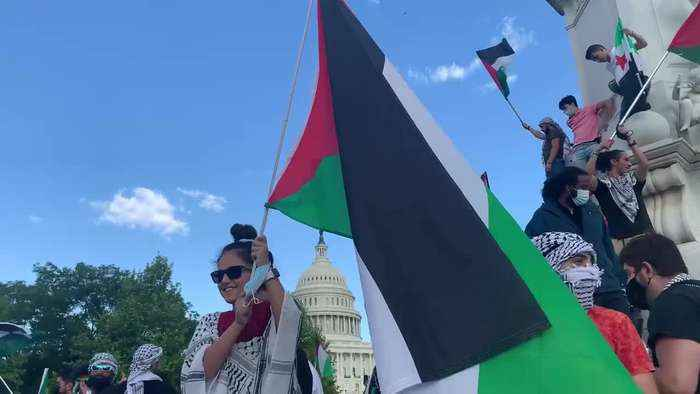 Protesters chant 'Free Palestine' as they march through Washington DC