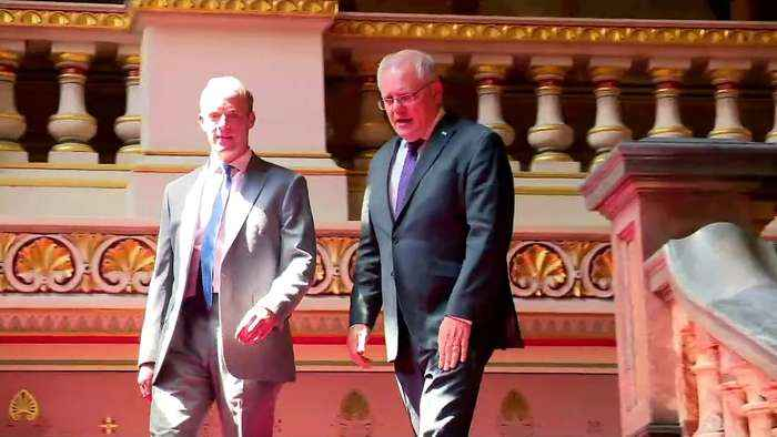 Raab welcomes Australian PM Scott Morrison in Westminster