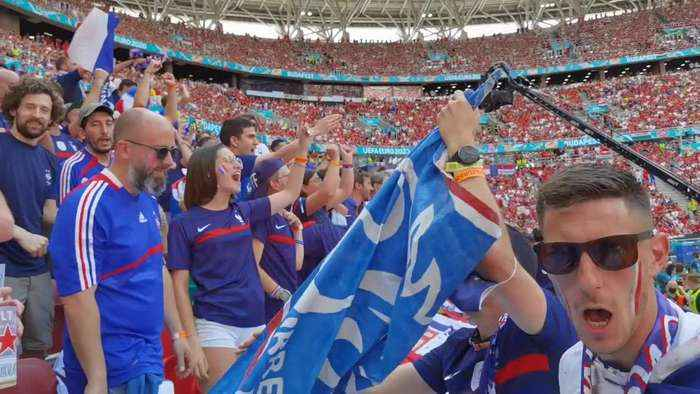 Jubilation to disappointment: French fans joy at goal and frustration at final draw in Hungary