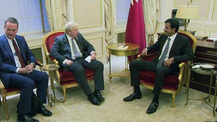 Boris Johnson and Emir of Qatar joke over PM's rugby skills