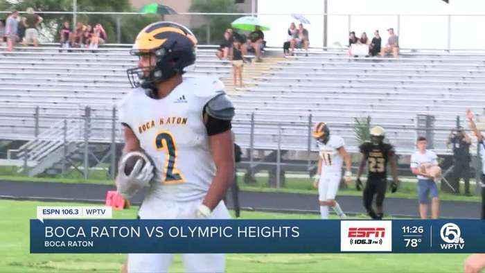 Boca Raton defeats Olympic Heights 42-7 despite weather delay